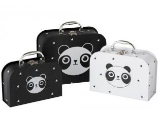 Sada 3papírových kufříků Panda  - 25*20*10cm