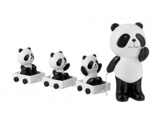 Dekorace Panda s mláďaty na vozíčku - 43*10*20cm