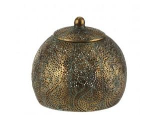 Zlatá orientální dóza s modrou patinou  Oriental gold - Ø 19*17cm