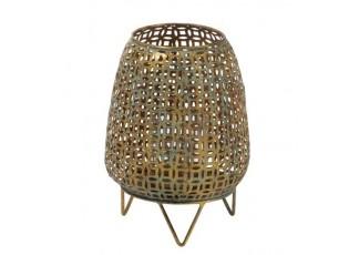 Zlatý kovový svícen Oriental gold s modrou patinou - Ø 20*27cm