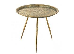 Zlatý kovový kulatý stolek Oriental gold s modrou patinou - Ø 67*42cm