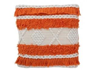 Oranžovo- přírodní polštář Tassel s třásněmi - 45*45 cm