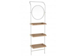 Nástěnné zrcadlo v kovovém rámu s dřevěnými policemi Pascaline - 61*37,5*191 cm