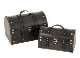 Set 2ks černých dřevěných kufříků Retro - 36*25*23 cm