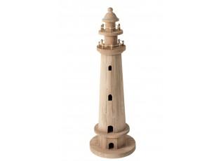 Dekorace přírodní dřevěný maják  - Ø 17*51 cm