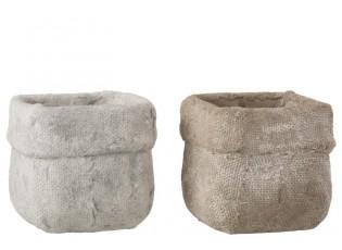 Sada 2 betonových květináčů Ciment – 16,5*16,5*14,5 cm