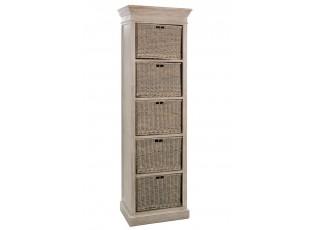 Dřevěná skříňka s proutěnými košíky Jerome - 59*40*194 cm
