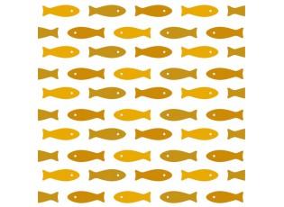 20ks papírových ubrousků s dekorem okrových rybek  - 33*33 cm