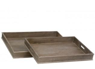 Set 2 dřevěných podnosů Regine - 71*51*8 cm