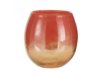 Oranžová skleněná váza /svícen Oriental orange - Ø 20*18cm