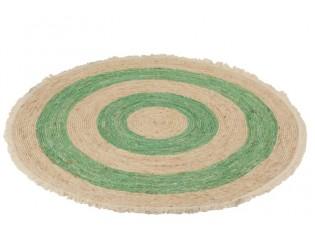 Přírodně-zelený kulatý koberec z mořské trávy s třásněmi - Ø 120 cm