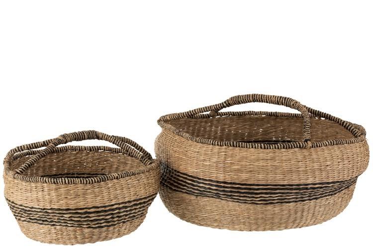 J-Line by Jolipa Sada 2 přírodních košů pletených z mořské trávy Urille - Ø 60*26 cm