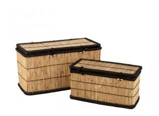 Sada 2 úložných košů z bambusového dřeva Gigi - 100*40*40 cm