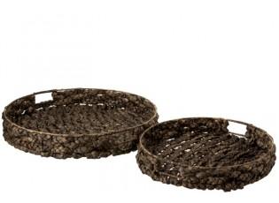 Set 2 velkých kulatých podnosů z vodního hyacintu Josiane - 51*51*10 cm