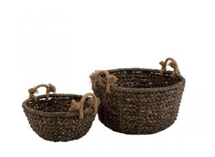 Sada 2 úložných košů pletených z vodního hyacintu Josiane - Ø 56*32 cm