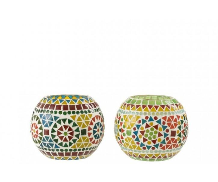 2ks barevný skleněný svícen na čajovou svíčku Mosaic - 14*14*11,5 cm