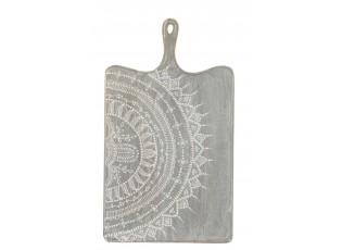 Šedé servírovací prkénko s malovaným ornamentem - 35*1,5*60 cm