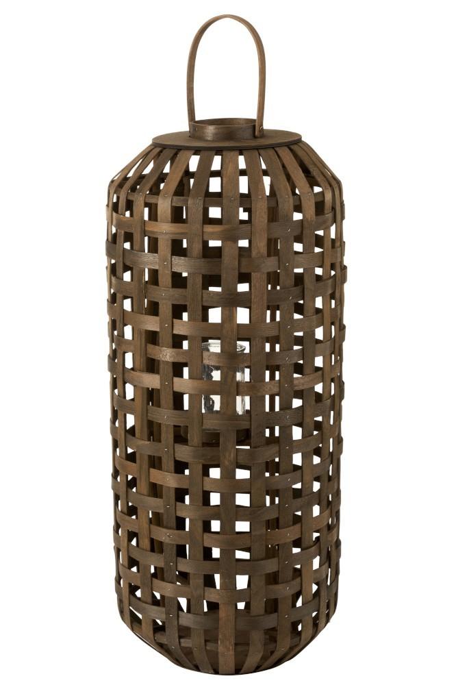 J-Line by Jolipa Tmavě hnědá dřevěná lucerna Toinette L - Ø 41,5*95 cm