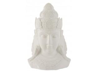 Bílá dekorace hlava Buddha - 56*41*84 cm