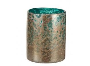 Tyrkysová skleněná váza se zlatou patinou Oriental gold - Ø 17*22cm