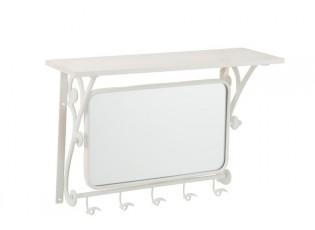 Bílá nástěnná kovová retro police se zrcadlem a háčky - 56*20*39 cm