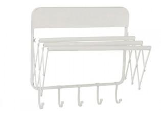 Bílý nástěnný kovový retro věšák na ručníky s háčky -51*35*51 cm