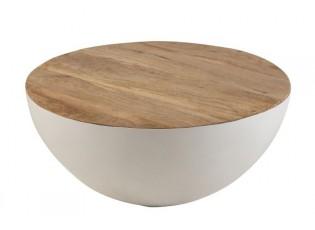 Bílý kovový stůl s dřevěnou deskou Mango - Ø70*31 cm