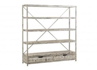 Bílý kovový patinovaný regál s dřevěnými policemi Ibiza - 180*45*191 cm