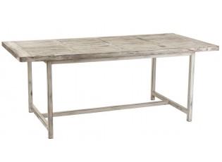 Bílý dřevěný patinovaný jídelní stůl s kovovou konstrukcí Ibiza  - 200*100*78 cm