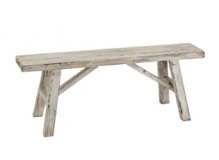 Bílá dřevěná patinovaná lavice Ibiza - 120*39*45 cm
