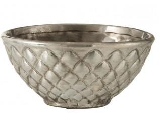 Stříbrná kovová miska Checkered - Ø23*11 cm