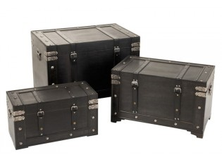 Set 3ks černých dřevěných kufrů Retro - 75*47*52 cm