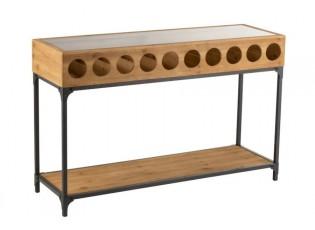 Dřevěný konzolový stolek na láhve vína Vine - 120*38*76 cm