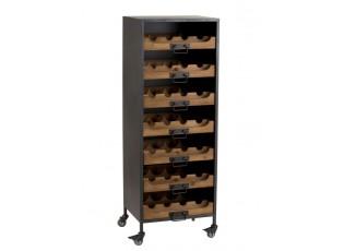 Černá kovová skříň s dřevěnými šuplíky na láhve vína Vine - 43,5*35*120 cm