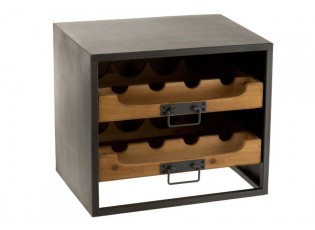 Černá kovová skříňka s dřevěnými šuplíky na láhve vína Vine - 43,5*35*38 cm