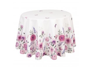 Kulatý bavlněný ubrus Roses and butterflies – Ø 170 cm