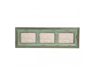 Zelený nástěnný dřevěný vintage fotorámeček  - 68*2*22 cm / 3x 13*18 cm