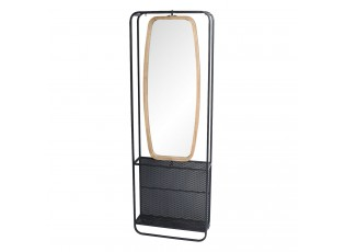 Zrcadlo v dřevěno-kovovém rámu s policemi Verene - 54*16*160 cm