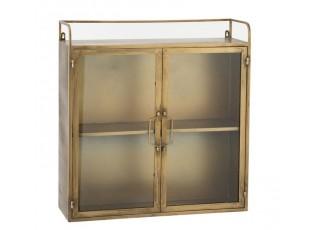 Nástěnná kovová zlatá skříňka / vitrína Antigo - 65*22*67cm