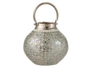 Stříbrná skleněná lucerna Mosaic - Ø20*30 cm