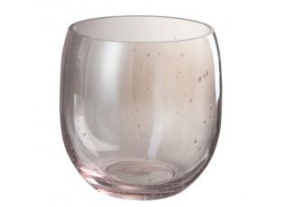 Růžová skleněná váza Bubble - Ø 17*17 cm