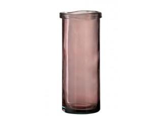 Růžová skleněná úzká váza Virginie - Ø 15*36 cm