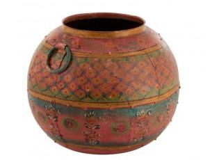 Kulatý malovaný kovový květináč/váza Sphere - Ø43*36cm