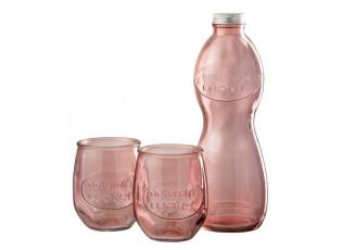 Růžová skleněná láhev a 2skleničky Salmon - Ø 10*26cm