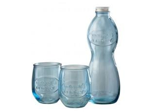 Modrá skleněná láhev a 2skleničky Salmon - Ø 10*26cm