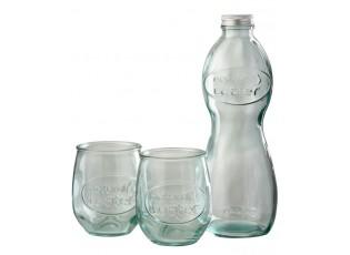Průhledná skleněná láhev a 2skleničky Natural - Ø 10*26cm