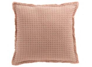 Růžový bavlněný vaflový polštář Waffle - 50*50 cm