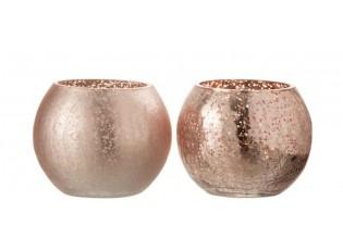 2ks růžové skleněné svícny Crazed S - Ø12*9 cm