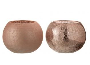 2ks růžové skleněné svícny Crazed M - Ø15*12 cm