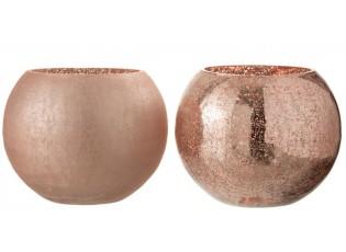2ks růžové skleněné svícny Crazed L - Ø20*16 cm